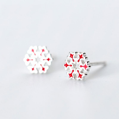 Red Snowflake Stud Earrings