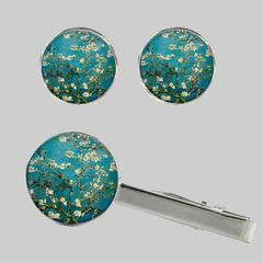Almond Blossoms, Tie Clip and Cufflinks Set