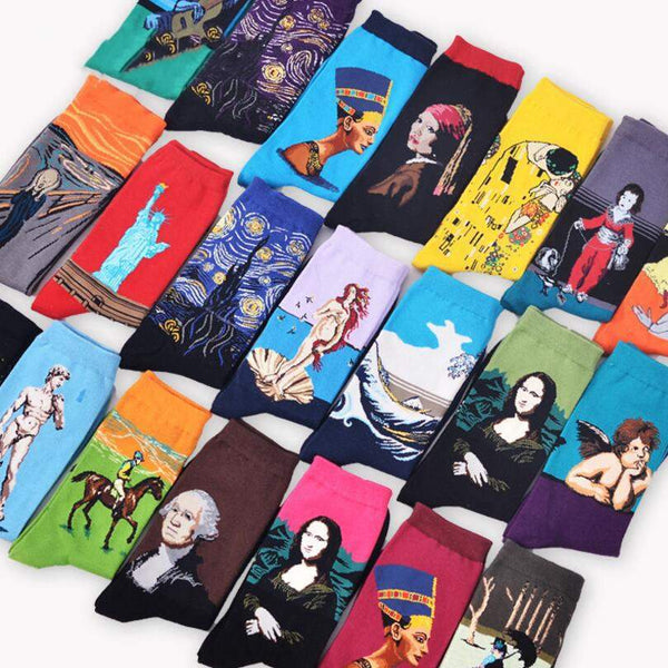 Art themed, Men Socks: Girl with a Pearl Earring-Socks-Wantalo