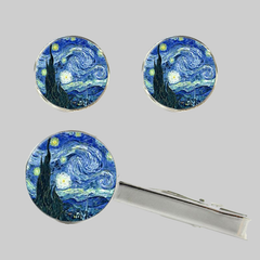 Starry Night, Tie Clip and Cufflinks Set