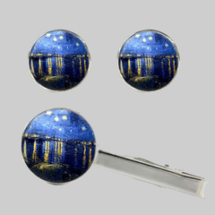 Starry Night over the Rhone, Tie Clip and Cufflinks Set