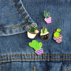 Green Plants Enamel Pins Set