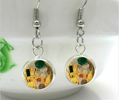The Kiss by Klimt Dangling Earrings