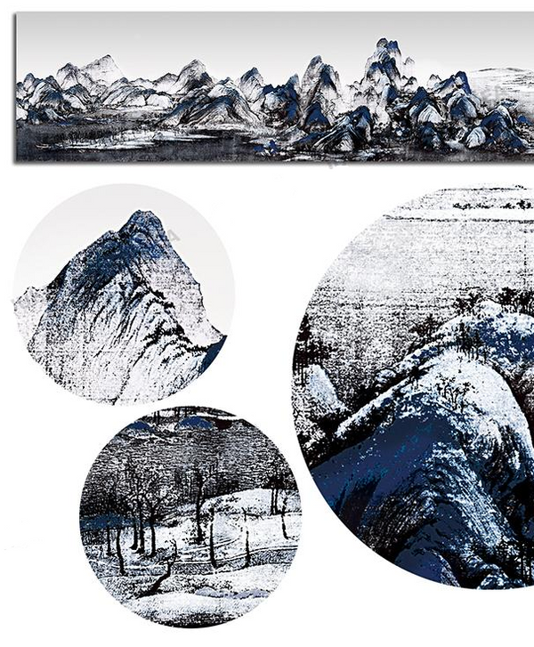 Ink Mountains Landscape, Painting-Paintings-Wantalo