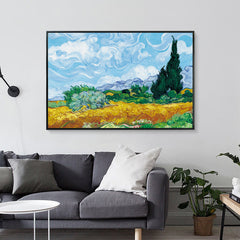 Wheatfield with Cypresses, Painting