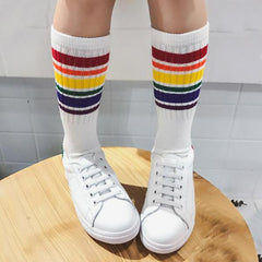 Rainbow Children and Kids Socks, White