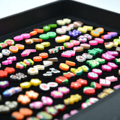 100 pairs Colorful Stud Earrings Set