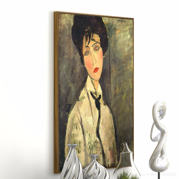 Woman in a Black Tie Painting-Paintings - Wantalo