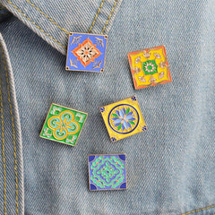Traditional Tiles Enamel Pins
