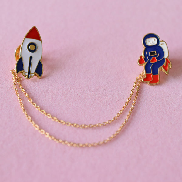 Astronaut with Rocket Enamel Pin-Pins & Patches-Wantalo