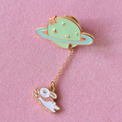 Rabbit and Planet Enamel Pin