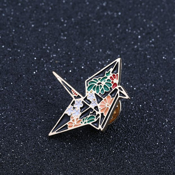 Origami Crane Enamel Pin-Pins & Patches-Wantalo