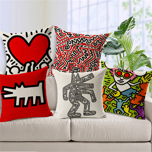 Heart by Haring, Pillowcase-Pillows-Wantalo