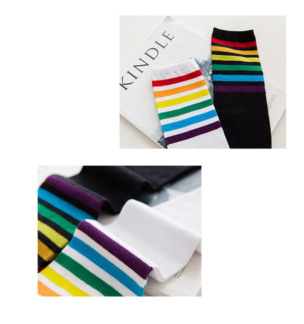 Rainbow Knee High Women Socks, White-Socks-Wantalo