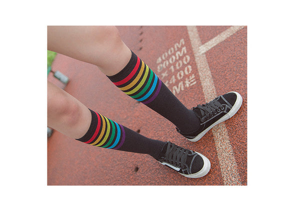 Rainbow Knee High Women Socks, Black - Socks - wantalo.com