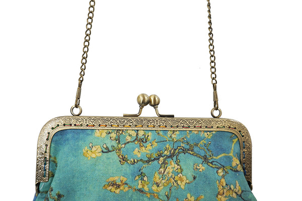Almond Blossoms & Irises Cross Body Purse-Bags-Wantalo