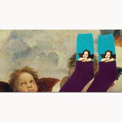 Art themed, Men Socks: Sistine Madonna
