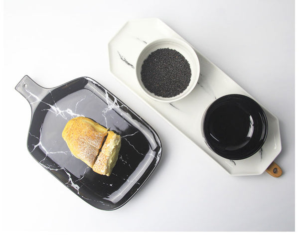 Marble Design Ceramic Tray-Tableware-Wantalo