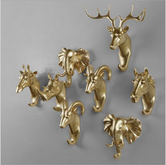 Animals Wall Hooks - Gold