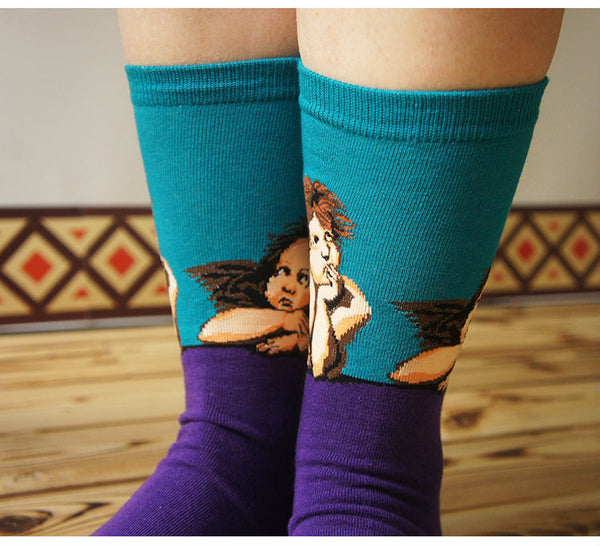 Art themed, Men Socks: Sistine Madonna-Socks-Wantalo