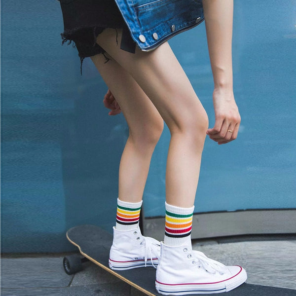 Retro Rainbow Cotton Women Socks-Socks-Wantalo