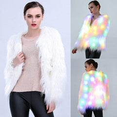 Rainbow LED faux Fur Winter Coat
