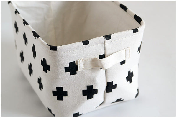 White Fabric Storage Basket-Storage Solutions-Wantalo