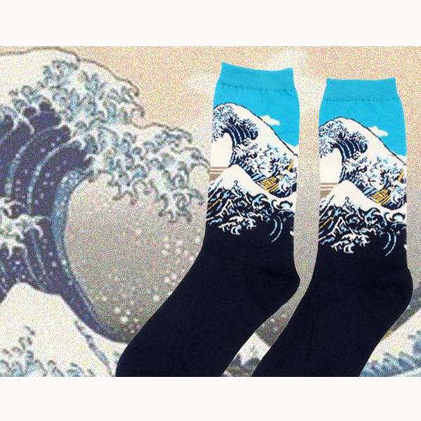 Art themed, Men Socks: The Great Wave-Socks-Wantalo