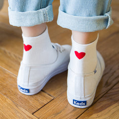 Heart Embroidered Socks