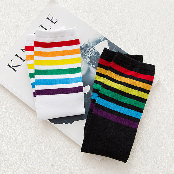Rainbow Knee High Women Socks, White - Socks - wantalo.com