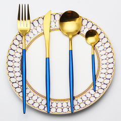 Blue & Gold Cutlery Set