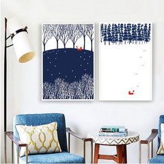 Fox in the Forest Paintings Set