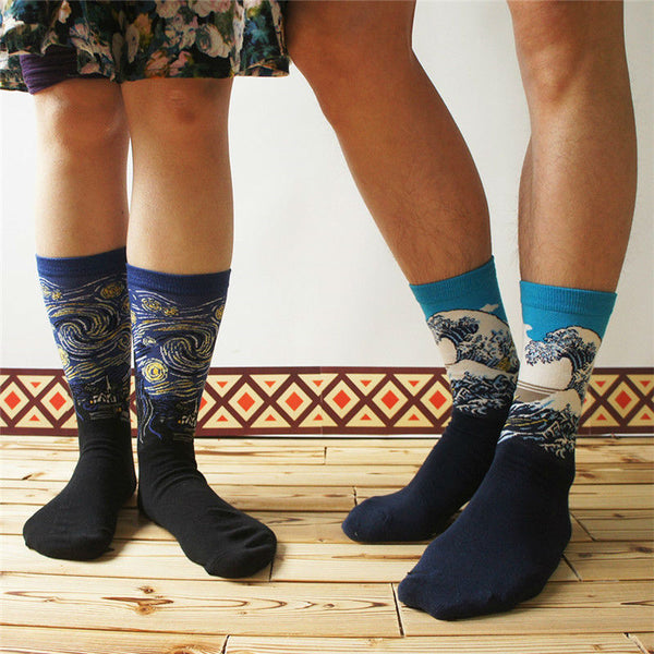 Art themed, Men Socks: Starry Night-Socks-Wantalo