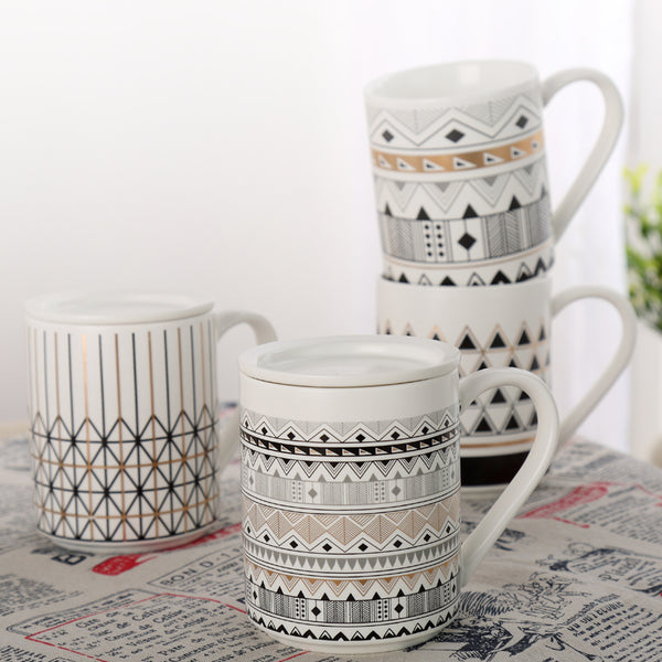 Mugs with Lid, Tribal Patterns-Tea & Coffee-Wantalo