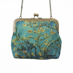 Almond Blossoms & Irises Cross Body Purse
