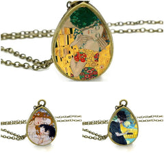 Klimt's paintings Tear Drop Pendants