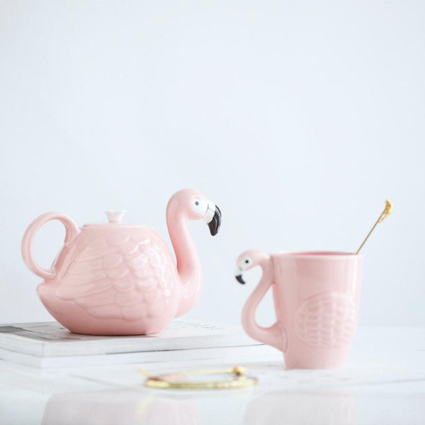 Rare Flamingos Teapot and Mug-Tea & Coffee-Wantalo
