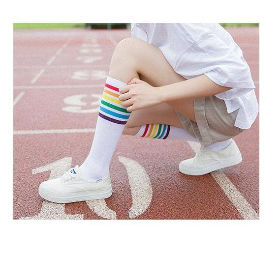 Rainbow Knee High Women Socks, White Socks