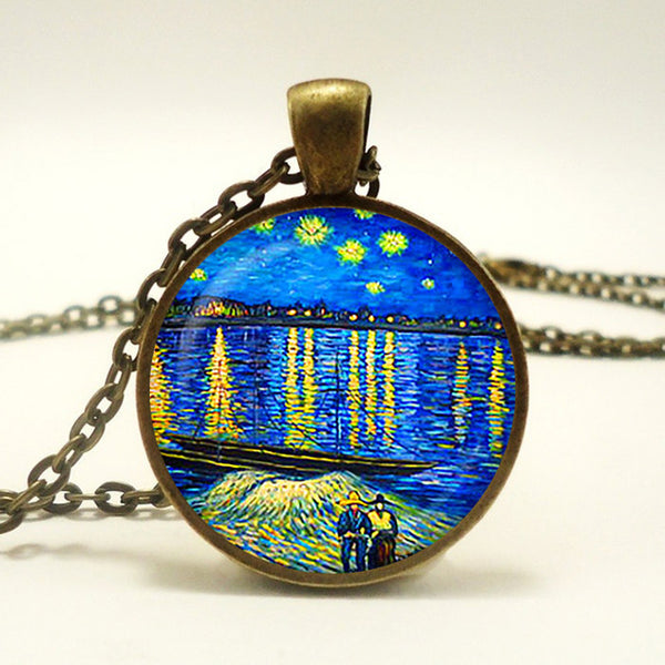 Starry Night Over the Rhône Pendant Necklace-Necklaces-Wantalo