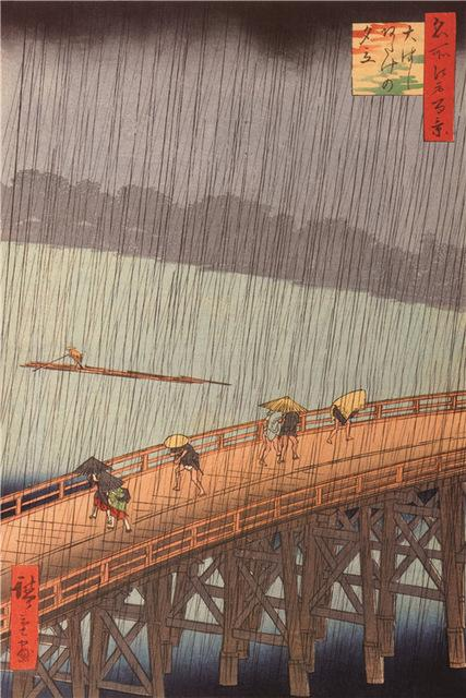 Ukiyo-e Paintings: Sudden Shower over Shin-Ohashi bridge and Atake-Paintings-Wantalo