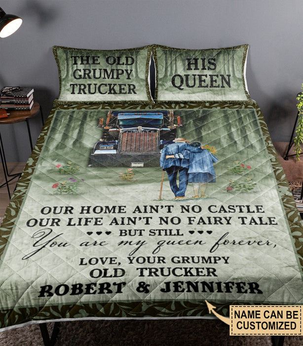 Personalized Truck Grumpy Trucker And Queen Customized Quilt Bedding