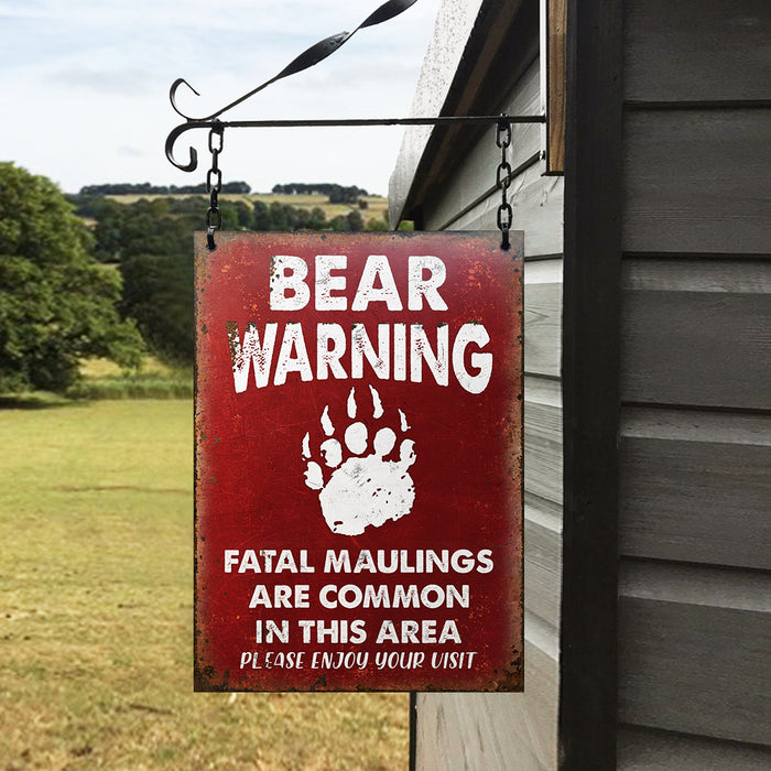 Bear Warning Enjoy Your Visit Customized Classic Metal Signs