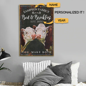 Personalized - Bed And Breakfast Hereford Cattle Custom Name Poster