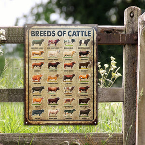 Breeds Of Cattle Customized Classic Metal Signs