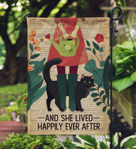 Dictionary Gardening Girl And Black Cat Garden Flag