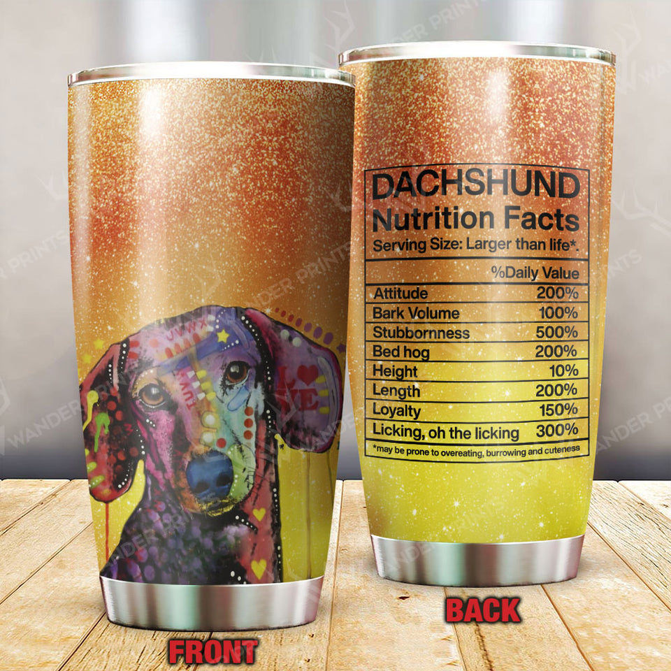 Funny Dachshund Nutrition Facts Tumbler