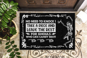 Halloween Skull Trick-Or-Treat Avoid Doormat