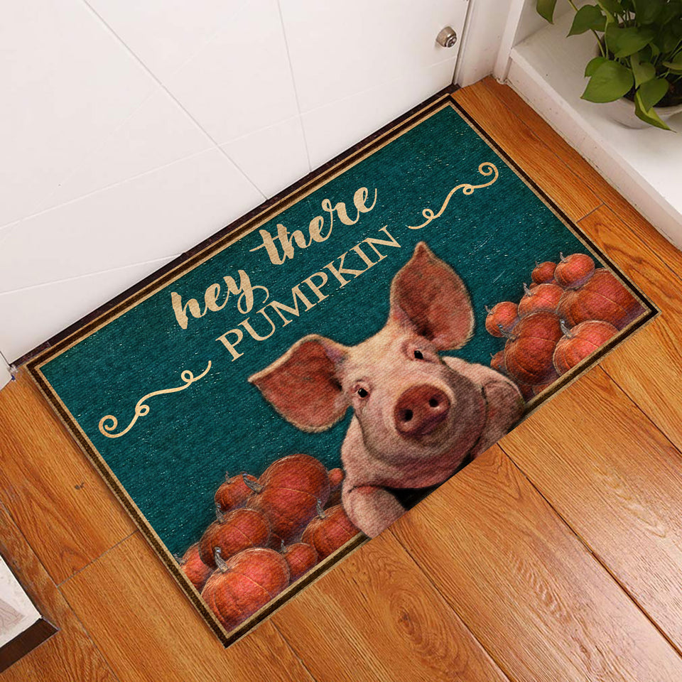 Hey There Pumpkin Pig Doormat