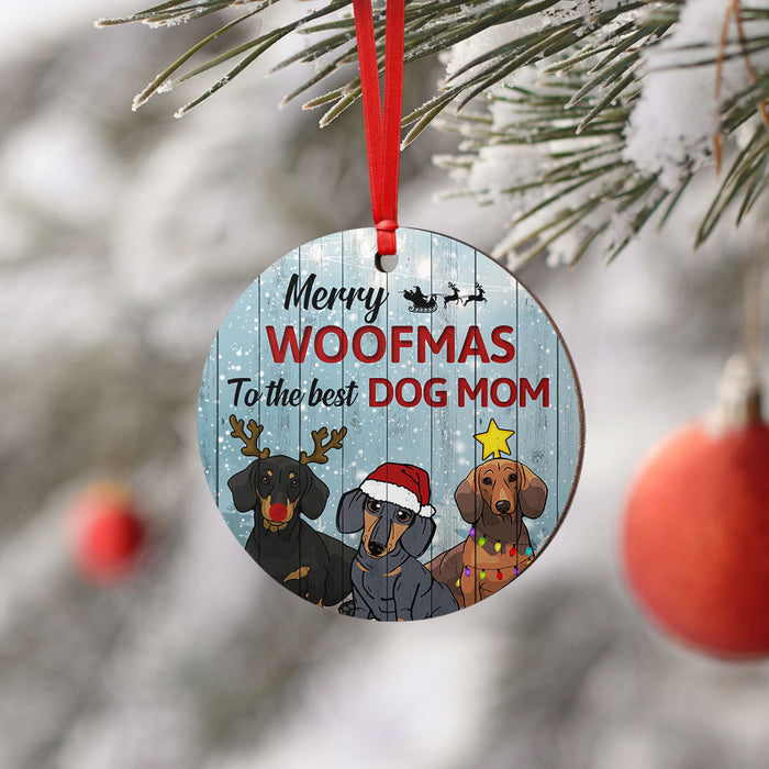 Merry Woofmas Dachshund Round Ornament