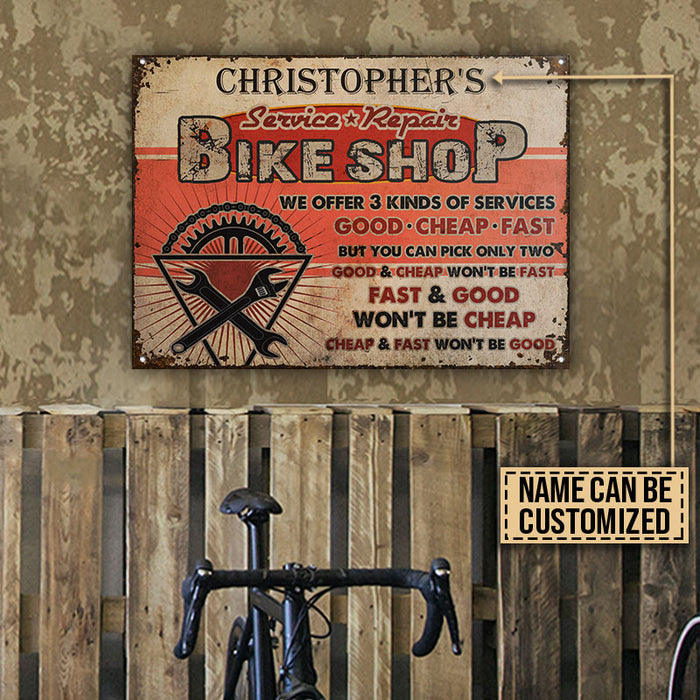 Personalized Cycling Bicycle Shop Kinds Of Service Customized Classic Metal Signs